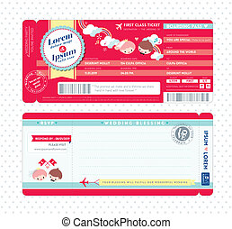Boarding Pass Wedding Invitation Template - Cute Boarding...