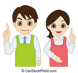 salesperson of raising finger