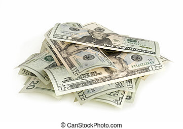 heap of dollars isolated on white