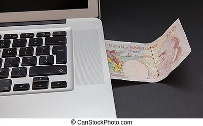 Cyber theft concept shot with laptop and money