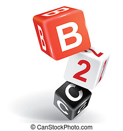 3d dice illustration with word B2C