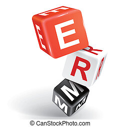 3d dice illustration with word ERM - vector 3d dice with...