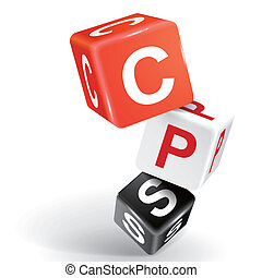 3d dice illustration with word CPS - vector 3d dice with...