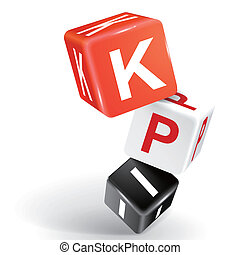 3d dice illustration with word KPI - vector 3d dice with...