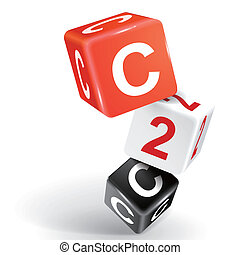 3d dice illustration with word C2C - vector 3d dice with...