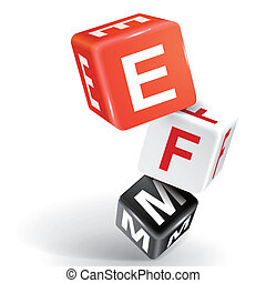 3d dice illustration with word EFM - vector 3d dice with...