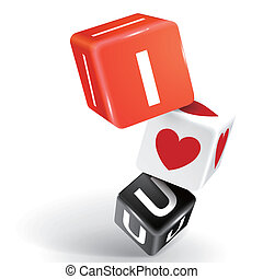 3d dice illustration with word I love u