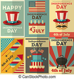 Independence Day American Posters Set in Retro Style. Fourth...