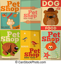 Pet Shop Posters Set in Retro Style Vector Illustration