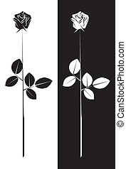 Stylised Rose - Illustration of a stylised Rose with stem...