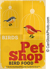 Pet Shop Poster with Bird in Retro Style Vector Illustration...