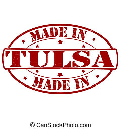 Made in Tulsa - Stamp with text made in Tulsa inside, vector...