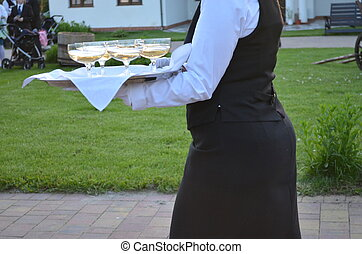 The waitress carries a tray of champagne for an elegant...