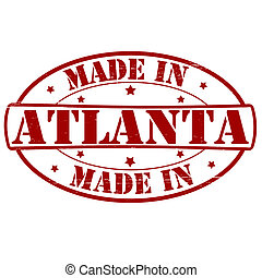 Made in Atlanta - Stamp with text made in Atlanta inside,...
