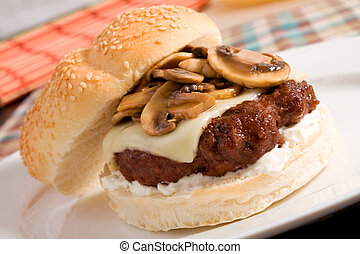 Mushroom and Swiss Burger - A delicious burger topped with...
