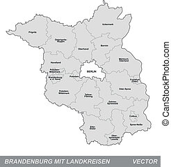Map of Brandenburg with borders in gray