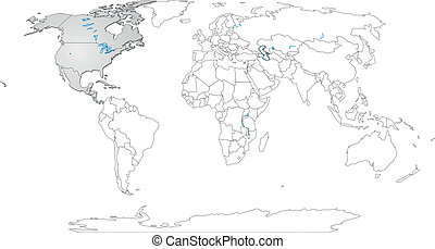 Map of North America and the World
