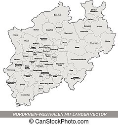 Map of North Rhine-Westphalia with borders in gray