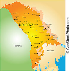 Moldova - vector color map of Moldova country