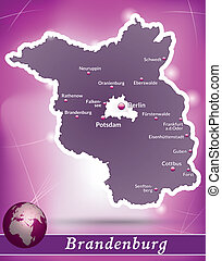 Map of Brandenburg with abstract background in violet