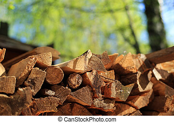 Pile of firewood in the village, wood, background