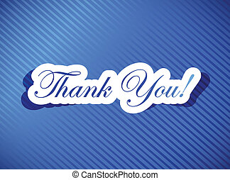 thank you card illustration design over a blue background
