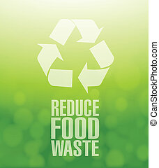 recycle reduce food waste green illustration background