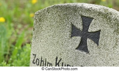 Iron Cross Grave - Iron cross mark painted on old tombstone...