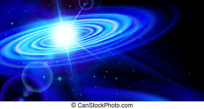 Blue galaxy - Space background. Blue galaxy with bright...
