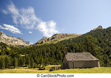 small church in mountain landscape; Alpe Veglia, natural...