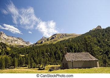 small church in mountain landscape; Alpe Veglia, natural...