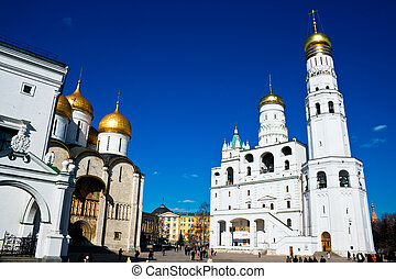Moscow Kremlin - Dormition Cathedral and Ivan the Great bell...