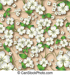 abstract seamless floral background with white spring ornament on beige