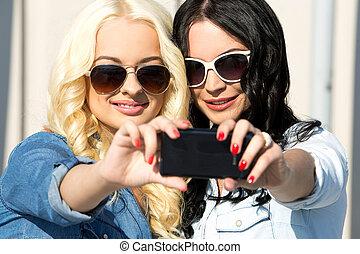 Attractive best friends outdoor - Friendship Best friends...
