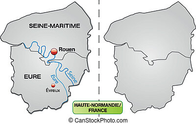 Map of Upper Normandy with borders in gray