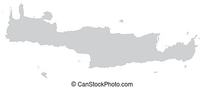 Map of Crete with borders in gray