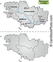 Map of Brittany with borders in gray
