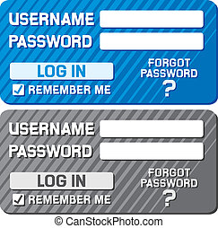 log in form with username and password fields, registration...
