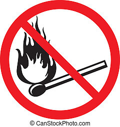no fire sign, no matches symbol, no fire icon with a burning...