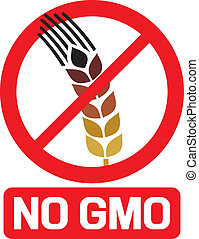 no GMO label, GMO prohibited sign, stop genetically modified...
