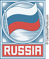 russia flag poster, russian federation flag