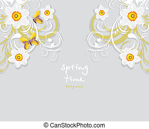 Daffodils and butterflies. Springtime background. Vector...