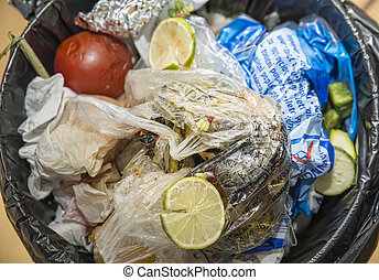garbage can - close up on the inside of a kitchen trash