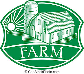 farm symbol, barn and silo, barn and granary, farm label