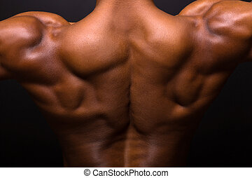 african muscular bodybuilder's back