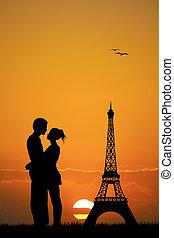 lovers in Paris - illustration of lovers in Paris