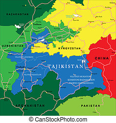 Tajikistan map - Highly detailed vector map of Tajikistan...