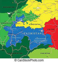 Tajikistan map - Highly detailed vector map of Tajikistan...