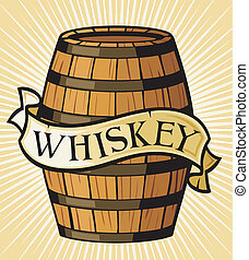 whiskey label, wooden barrel