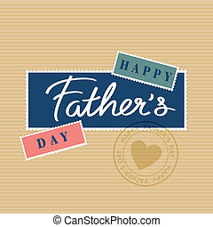happy fathers day hand lettering, postage stamp and postmark